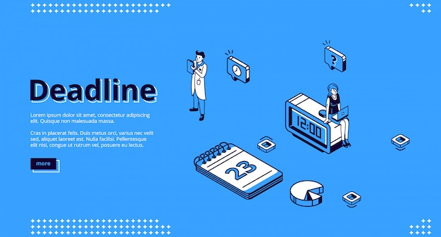 Deadline, time management isometric landing page