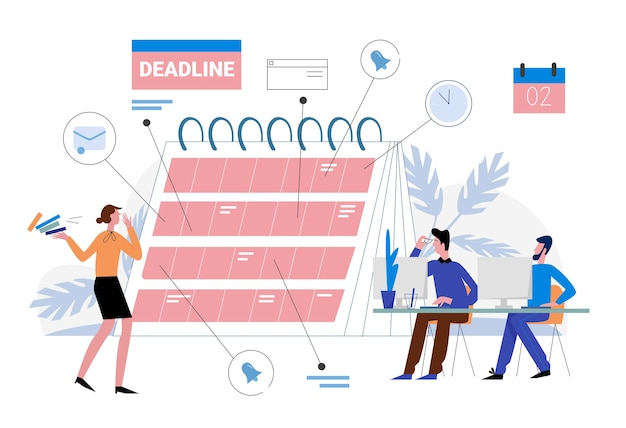Deadline in work  illustration. cartoon  business people organize workflow, plan deadline on reminder planner calendar, effective time management, multitasking concept  on white