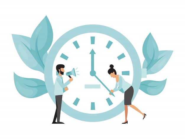Deadline working people with big clock. business woman try to stop clock arrows, man with megaphone stand. deadline term delay problem
