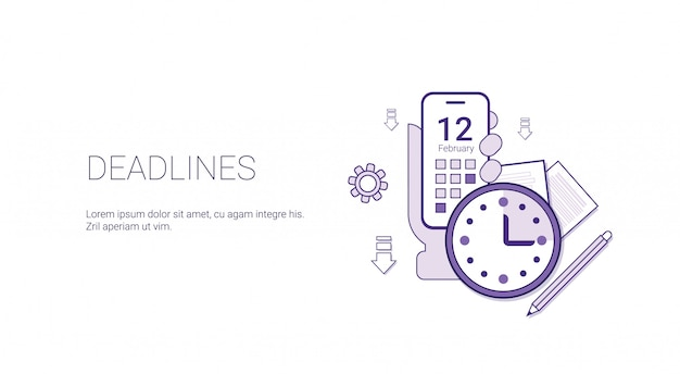 Deadlines web banner business time management schedule concept