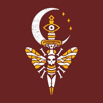致命的な蜂の月のタトゥーのデザイン