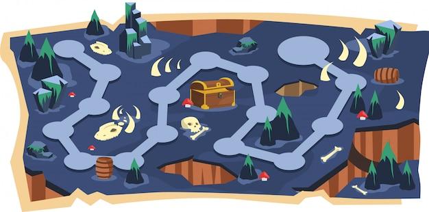 경로와 보라색 땅이있는 치명적인 동굴 2d 게임지도