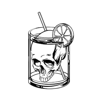 Deadly cocktail with a skull in a glass - linear style.   illustration.