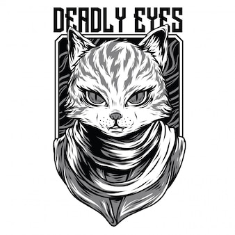 Deadly eyes black and white illustration