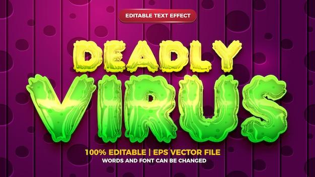 Смертельный вирус редактируемый текстовый эффект в стиле 3d шаблона