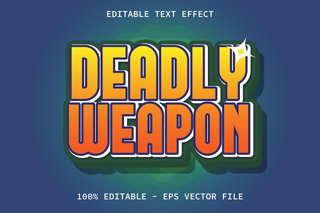 Deadly weapon with modern cartoon emboss style editable text effect