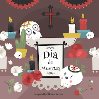 Deads' day background with altar and mexican skulls
