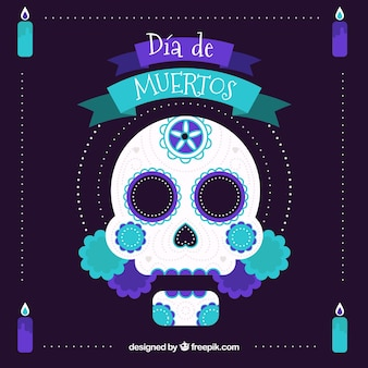 Deads' day background with mexican decorative skull