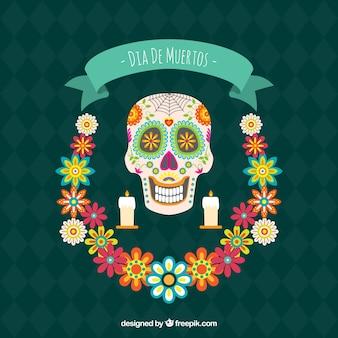 Sfondo di giorni di deads con cranio e corona floreale
