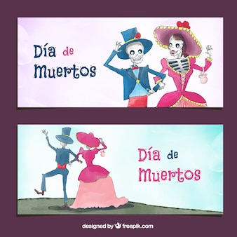 Deads' day banners with nice mexican watercolor couple