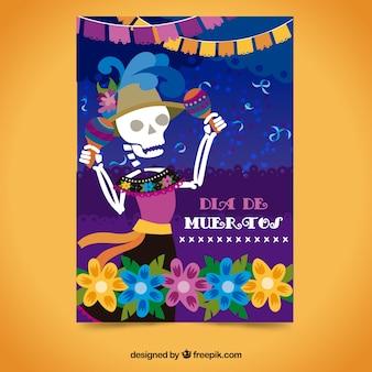 해골 춤으로 죽은 날 파티 포스터 무료 벡터
