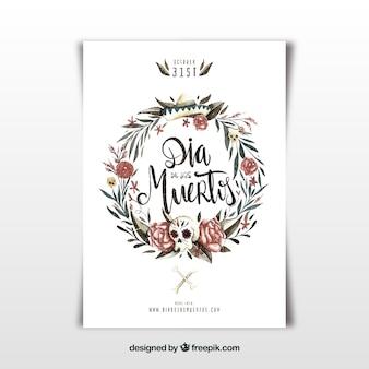 Poster del partito di giorno dei deads con la corona floreale dell'acquerello