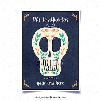 Poster del giorno di deads con il cranio dell'acquerello