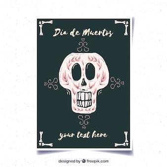 Giornale di deads con cranio decorativo di acquerello