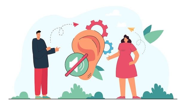Deaf man and woman communicating through sign language. disabled people talking, huge ear flat illustration