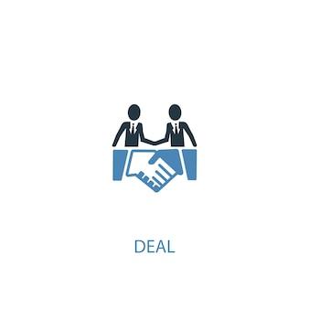 取引コンセプト2色のアイコン。シンプルな青い要素のイラスト。取引コンセプトシンボルデザイン。 webおよびモバイルui / uxに使用できます