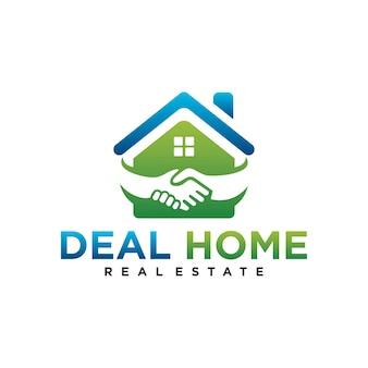 Deal home logo design template element with handshake illustration
