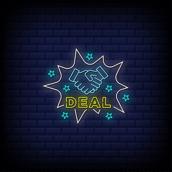 Deal neon signs style text