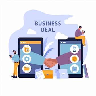 携帯電話で取引します。携帯電話の背景を持つ2つのビジネス人々の握手。