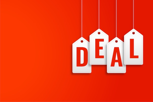 Deal promotional banner in hanging price tag style