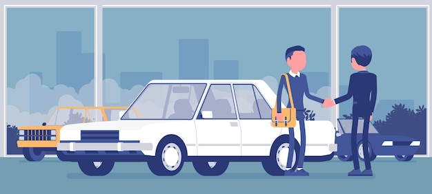 Dealer in car showroom displays vehicle for sale. male automobile seller, customer makes an agreement in sales agency, man buying new auto, business in shop.