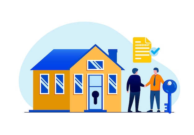 Торговля недвижимостью плоская векторная иллюстрация для баннера и целевой страницы