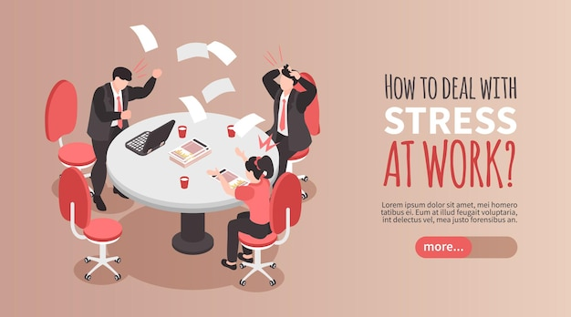 Dealing with stress banner with frustrated people at work at office 3d isometric
