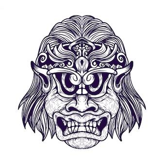 악마 얼굴 장식 왕관