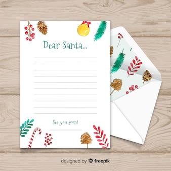 친애하는 산타 크리스마스 편지 및 봉투 세트