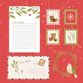 Dear santa claus letter. postcard with stamps and mark.