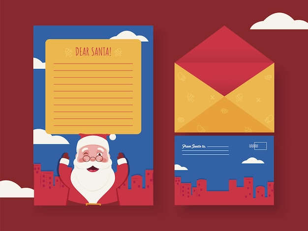 Dear santa empty letter or greeting card with envelope in front and back view..