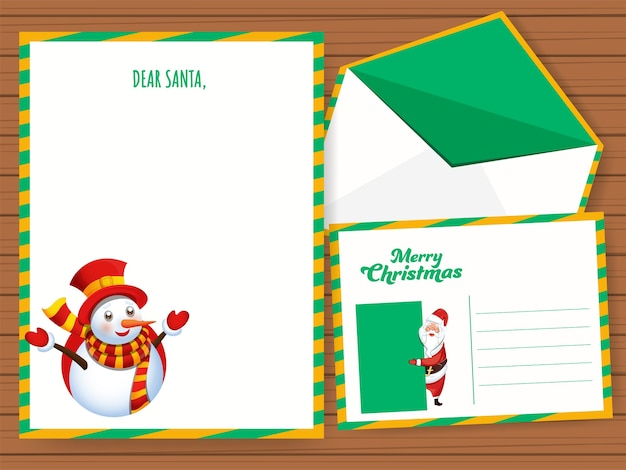 Dear santa greeting card or letter with double-sides envelope on the occasion of merry christmas