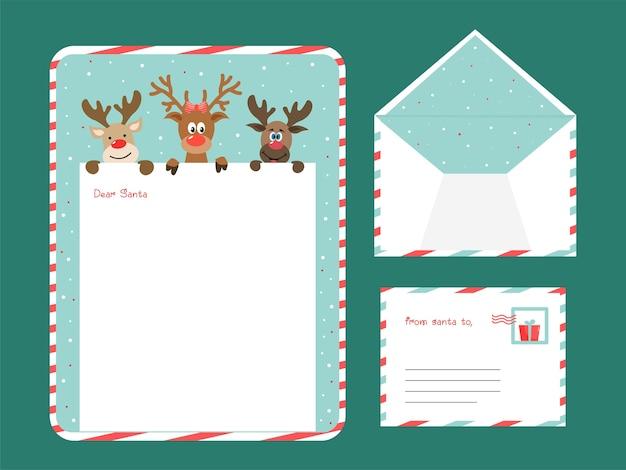 텍스트를위한 공간이있는 친애하는 산타 편지 또는 인사말 카드
