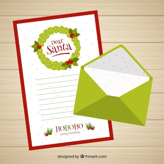 Caro modello di lettera di santa con una busta verde