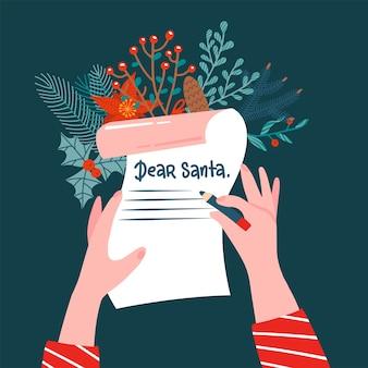 Дорогой санта письмо вид сверху сцена. девушка пишет письмо деду морозу на рождество.