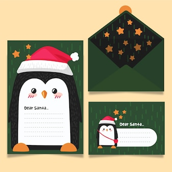 Dear santa stationery greetings card template hand drawn