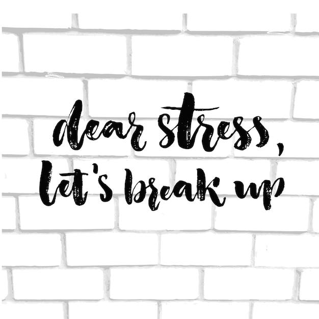親愛なるストレスは不安の感情的な問題について言っているインスピレーションを解散させます