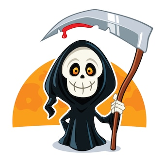 Death cartoon character illustration Premium Vector