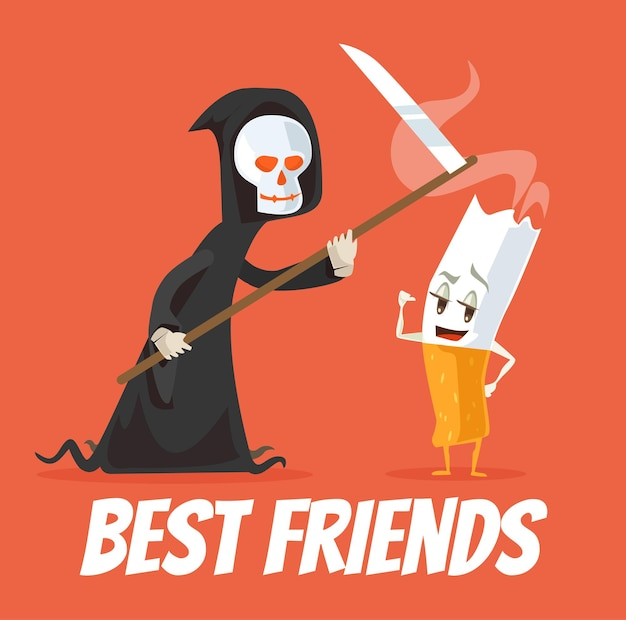 Death and cigarette characters best friends.