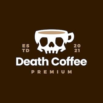 해골 컵 로고가있는 데스 커피
