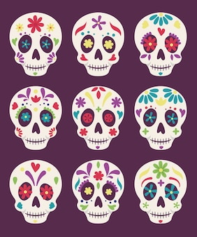 Death day mexican celebration, decorative skulls