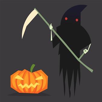 Фигура смерти в длинной черной мантии с красными глазами и косой в руках и ухмыляющейся тыквой на хэллоуин