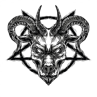 Death goat black n white