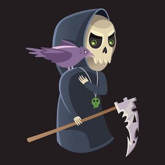 Смерть хэллоуин персонаж с вороном на плече и косой в руке векторные иллюстрации