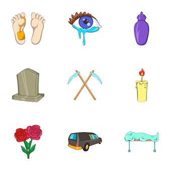 Death icons set, cartoon style