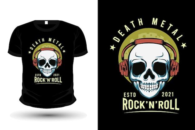 Death metal with skull illustration t shirt design