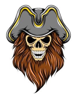 큰 모자와 긴 수염을 가진 죽음의 해적 두개골