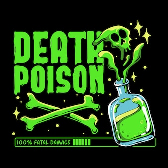 Death poison ilustration. green toxic with crossbones