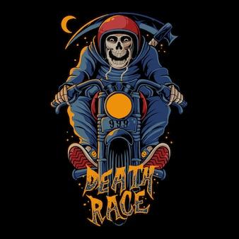 Death race illustration. skull riding vintage motorcycle