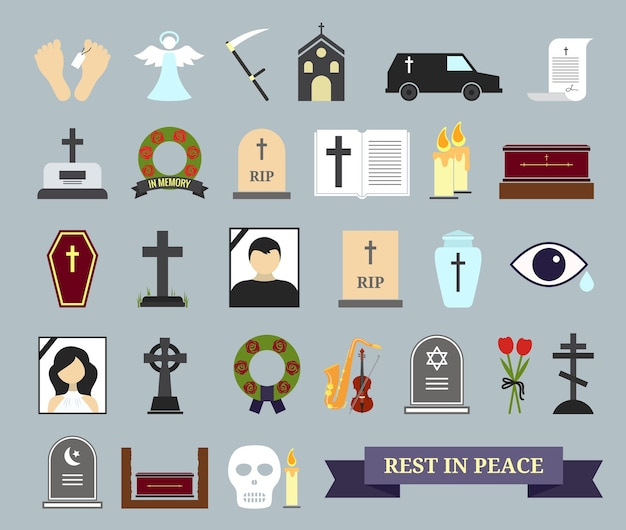 Цветные иконы смерти, ритуала и погребения. веб-элементы на тему смерти, поминальной церемонии.